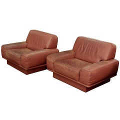 Pair of Large Leather Club Chairs Attributed to De Sede