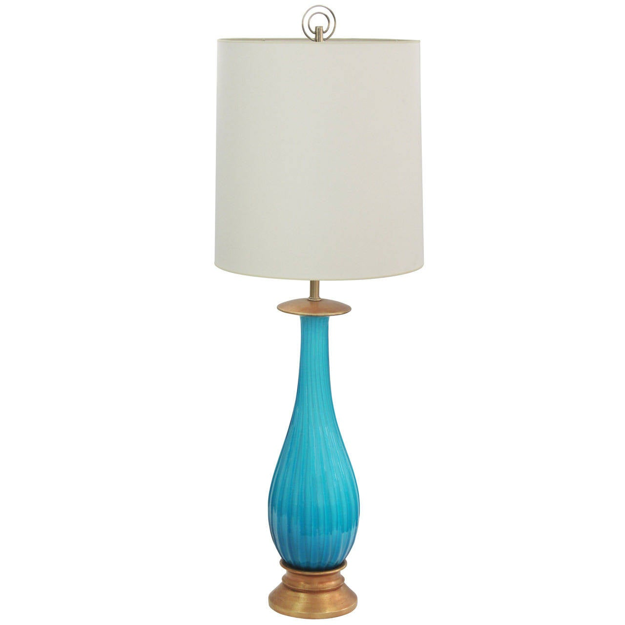 large handblown table lamp in aqua glass by seguso at 1stdibs. Black Bedroom Furniture Sets. Home Design Ideas