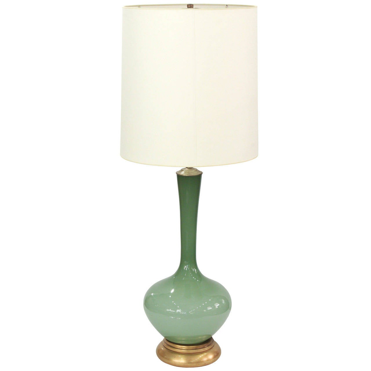 Large Swedish Handblown Green Glass Table Lamp