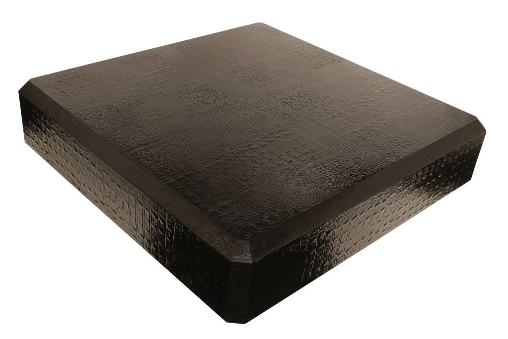 Coffee Table Covered in Black Crocodile Leather by Karl Springer 2