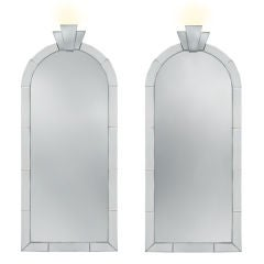 "Pair of Large ""Dome Top Mirrors"" with Uplights by Karl Springer"