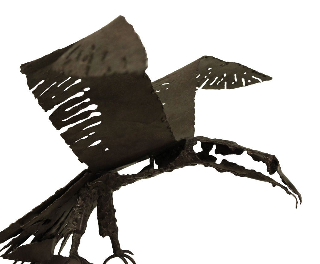 Hand-welded Brutalist raven sculpture, American, 1975 (signed and dated by artist).