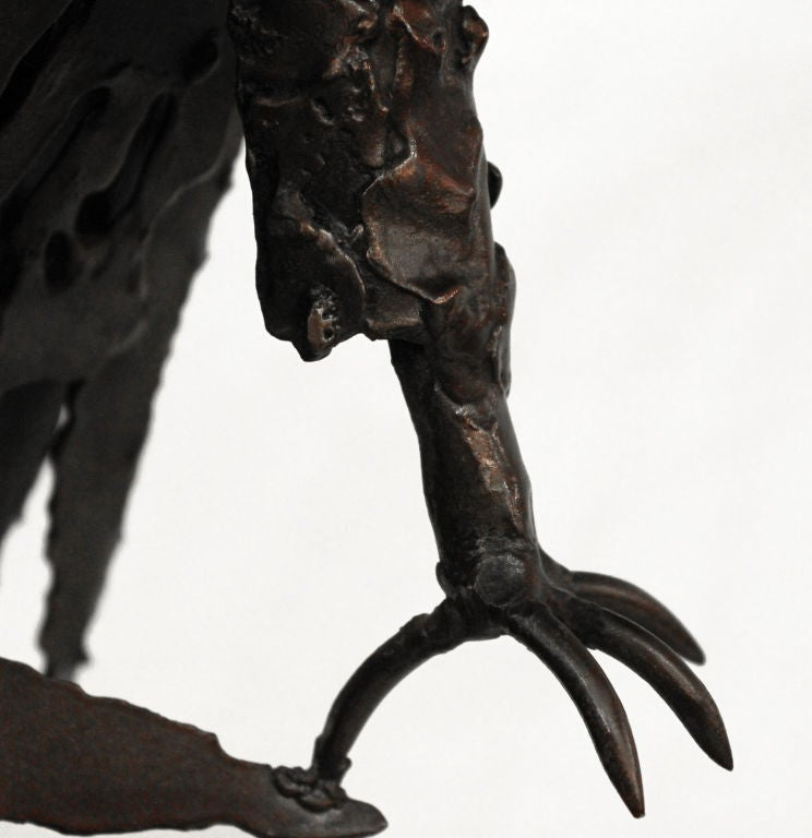 Late 20th Century Hand-Welded Raven Sculpture For Sale
