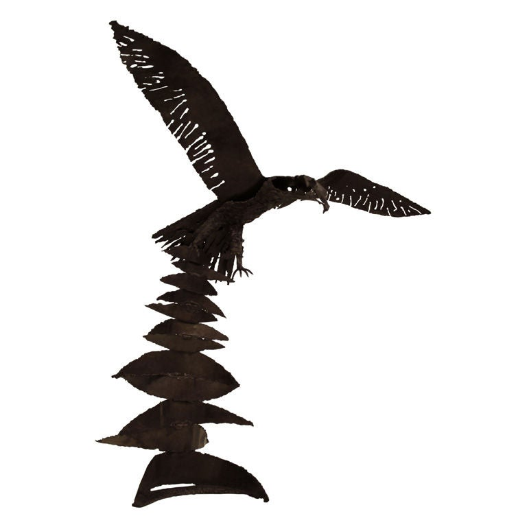 Hand-Welded Raven Sculpture For Sale