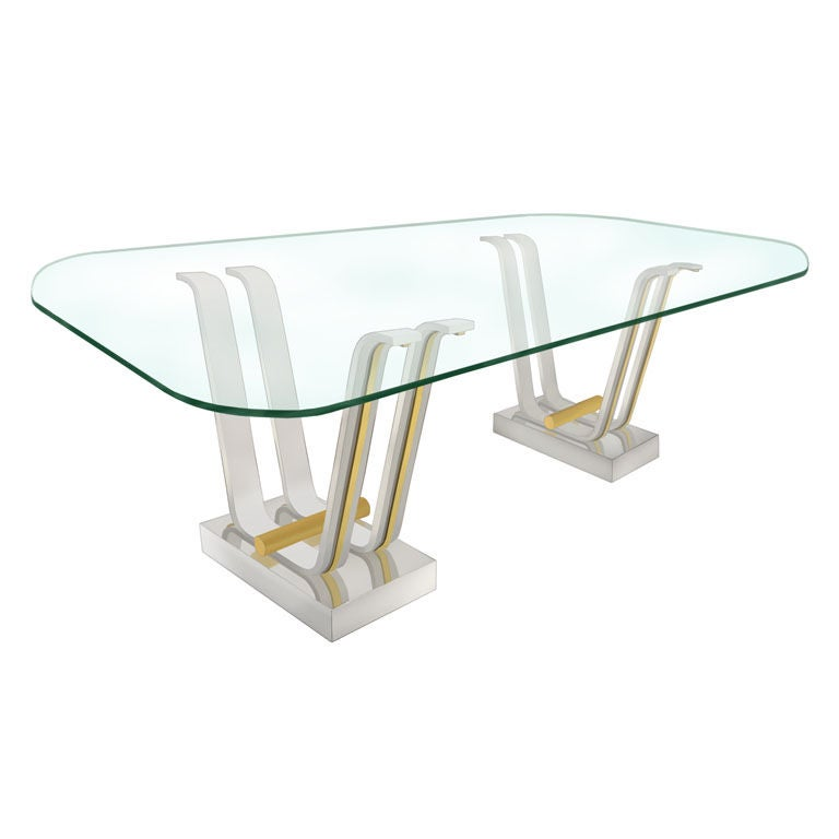 Large quotTulip Base Dining Tablequot with Glass Top by Karl  : XXX783812956277381 from www.1stdibs.com size 768 x 768 jpeg 25kB