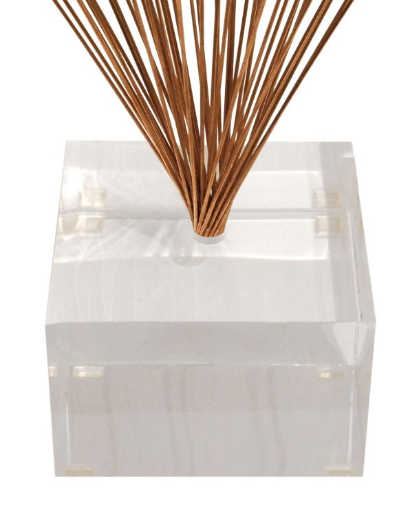 American Large Spray Sculpture in Copper with Lucite Base For Sale
