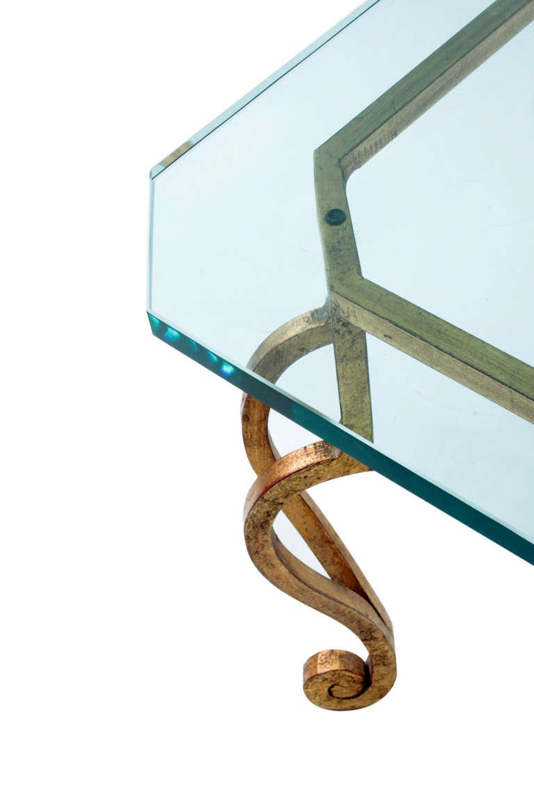 French Gilded Bronze Coffee Table with Thick Glass Top For Sale