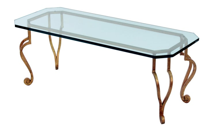 Gilded Bronze Coffee Table with Thick Glass Top For Sale