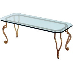 Gilded Bronze Coffee Table with Thick Glass Top