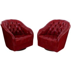 Pair of Tufted Leather Lounge Chairs by Ward Bennett