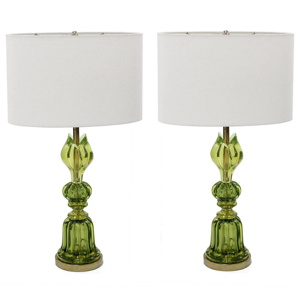 of exceptional handblown green glass table lamps by seguso at 1stdibs. Black Bedroom Furniture Sets. Home Design Ideas
