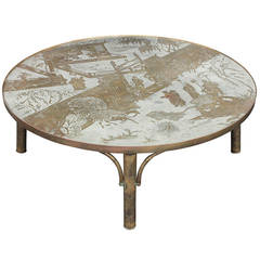 """Chan 142"" Coffee Table in Bronze and Pewter by Philip and Kelvin LaVerne"