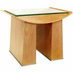 End Table in Oak with Glass Top by Jay Spectre