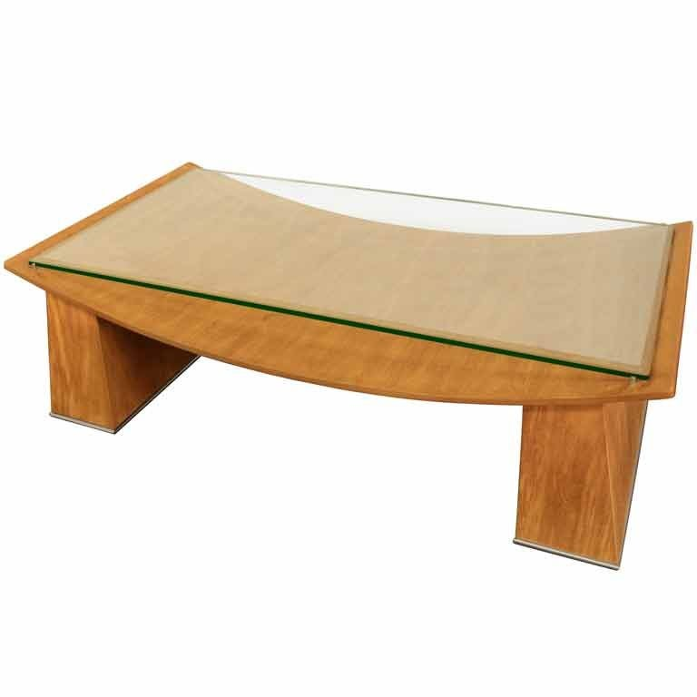 Coffee Table In Oak With Glass Top By Jay Spectre For Sale At 1stdibs