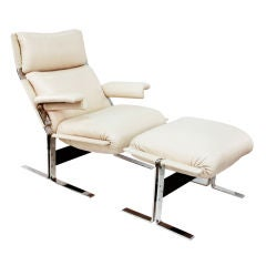 Chair & Ottoman in Leather and Polished Steel by Saporiti Italia