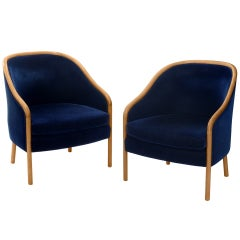 Pair of Lounge Chairs in Blue Mohair by Ward Bennett