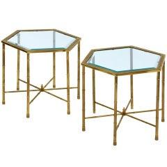 Pair of Bronze Hexagonal Tables by Mastercraft