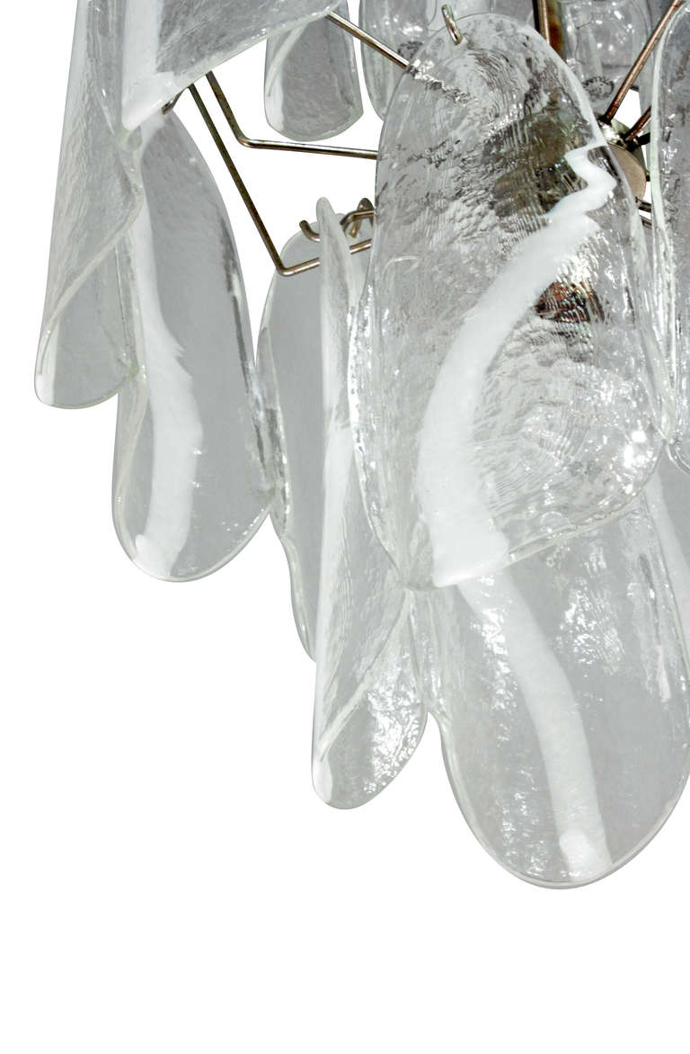 Italian Mazzega Large Chandelier with Molded Glass Panels, 1950s