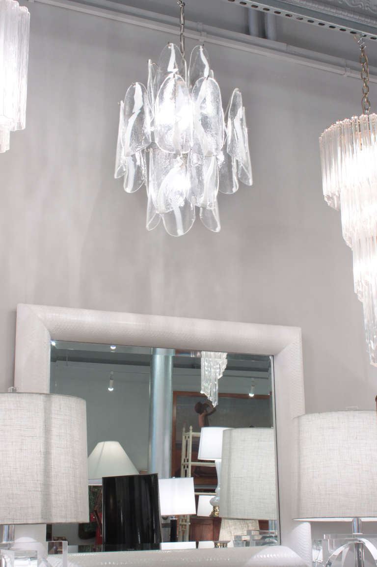Hand-Crafted Mazzega Large Chandelier with Molded Glass Panels, 1950s