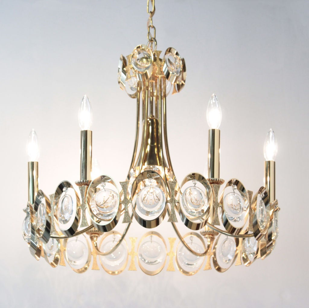 Elegant Brass And Crystal Chandelier By Palwa For Sale At