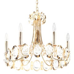 Elegant Brass and Crystal Chandelier by Palwa