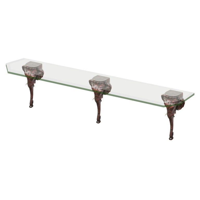 Console Table with Carved Elephant Heads and Glass Top