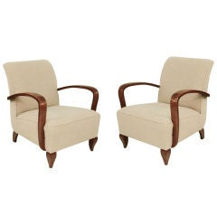 Pair of Lounge Chairs attributed to Rene Drouet