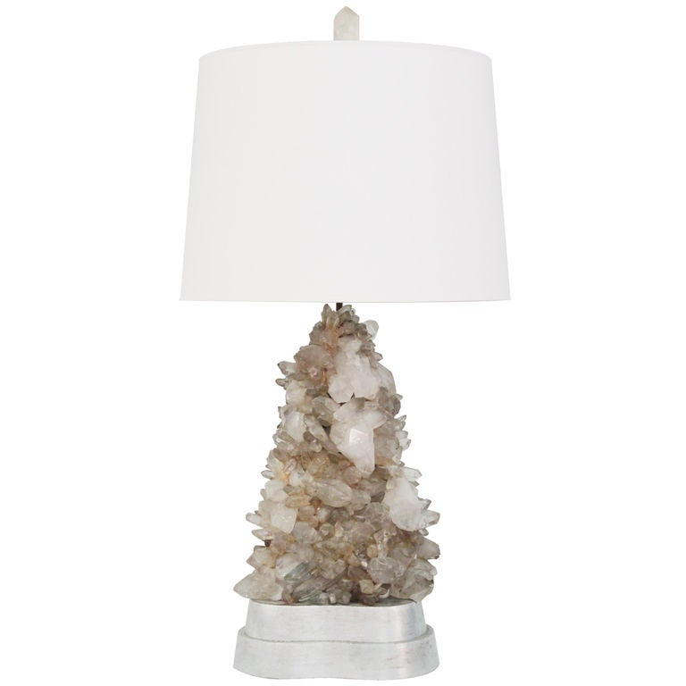 large rock crystal table lamp by carole stupell at 1stdibs. Black Bedroom Furniture Sets. Home Design Ideas