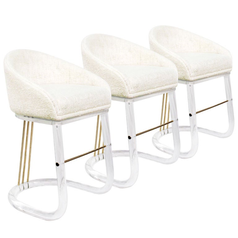 set of 3 lucite bar stools by lion in frost 1