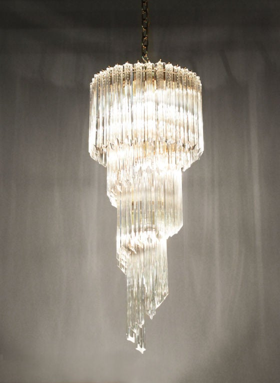 Spiral chandelier with cut-glass rods by Camer from Murano Italy, 1960s. Height measurement is for glass portion only.