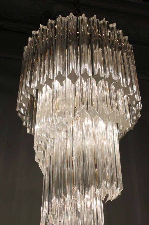 Modern Spiral Chandelier with Glass Prisms, 1960s For Sale