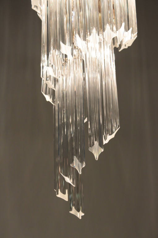 Italian Spiral Chandelier with Glass Prisms, 1960s For Sale