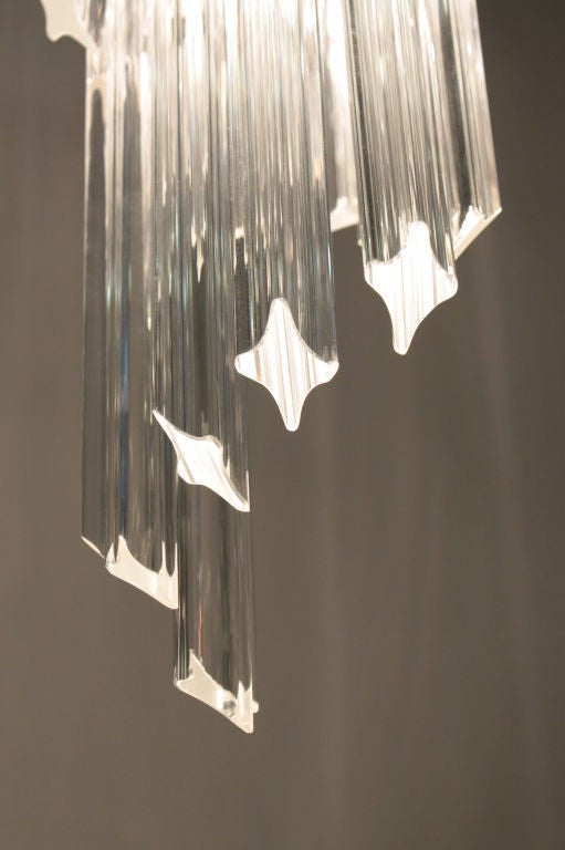 Hand-Crafted Spiral Chandelier with Glass Prisms, 1960s For Sale