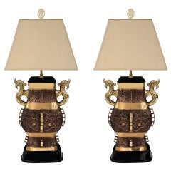 Pair of Impressive Bronze Chinese Urn Table Lamps