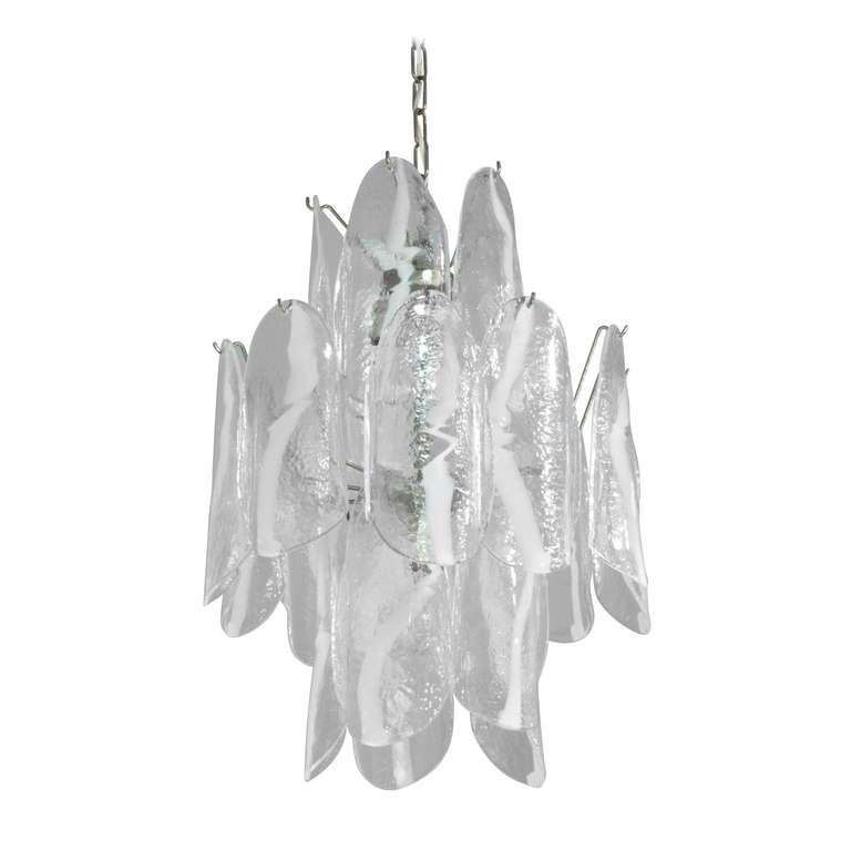 Mazzega Large Chandelier with Molded Glass Panels, 1950s