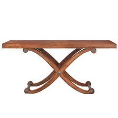 Large Console Table in Walnut with Pewter Accents by Century Furniture