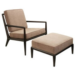 Chair and Ottoman in Walnut by T.H. Robsjohn-Gibbings