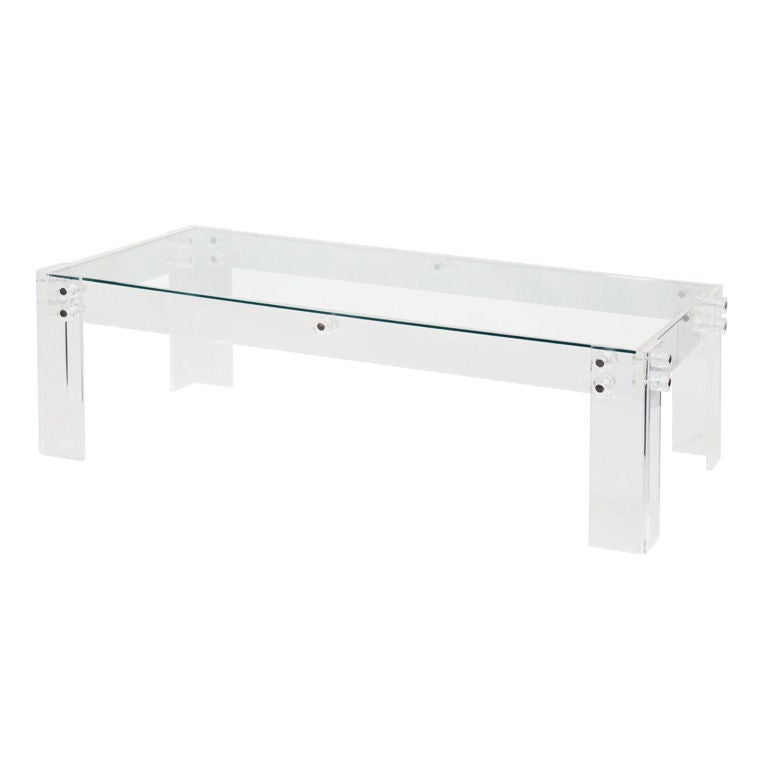 Coffee table in lucite with lug design for sale at 1stdibs for Acrylic coffee tables for sale