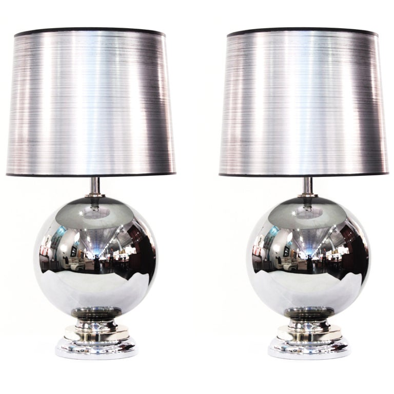 Pair Of Chic Mercury Glass Table Lamps At 1stdibs