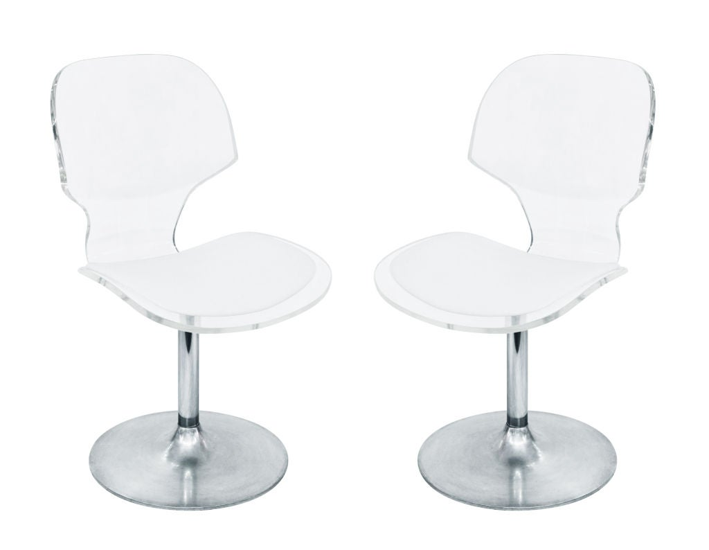 Set Of 4 Lucite Dining Game Chairs With Aluminum Swivels