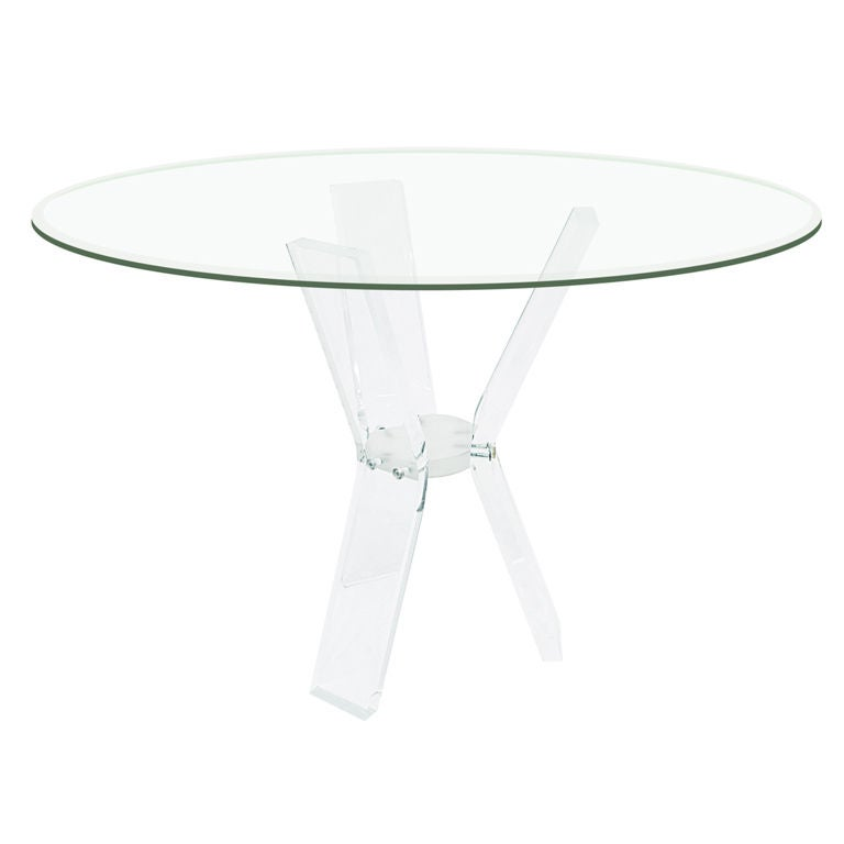 Dining Table with Sculptural Lucite Base