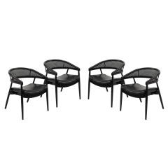 Set of Four Caned Barrel Back Dining/Game Chairs