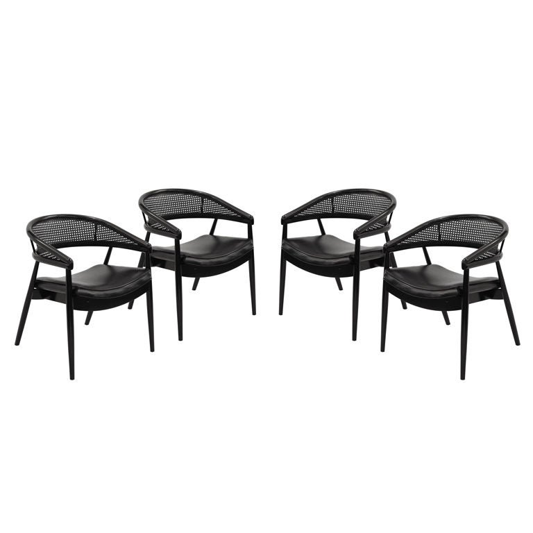 Set of Four Caned Barrel Back Dining Game Chairs at 1stdibs