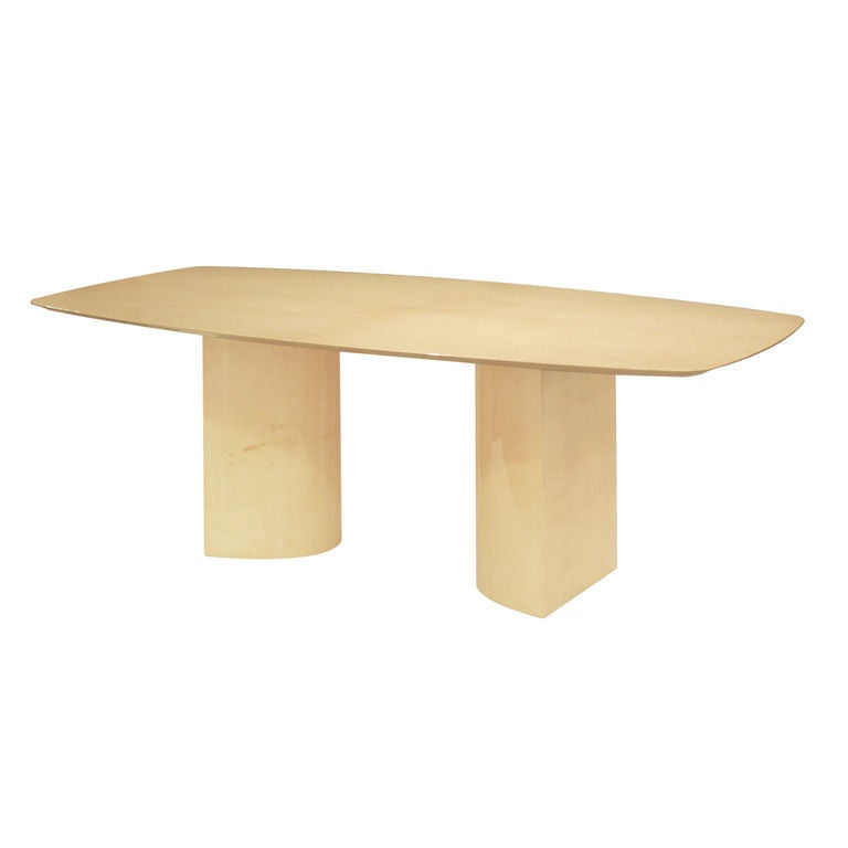 Knife Edge Dining Table in Lacquered Goatskin by Aldo Tura