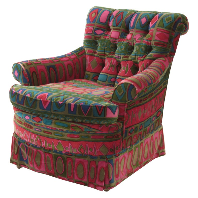 "Club Chair in Original ""Caravan"" Fabric by Jack Lenor Larsen For Sale"