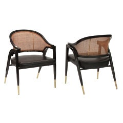 Pair of Lounge Chairs in Laminated Ash by Edward Wormley