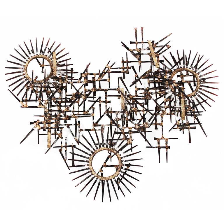 Geometric Wall Mounted Nail Sculpture For Sale