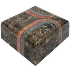 Beautifully Crafted Box in Tessellated Stone with Brass Inlays