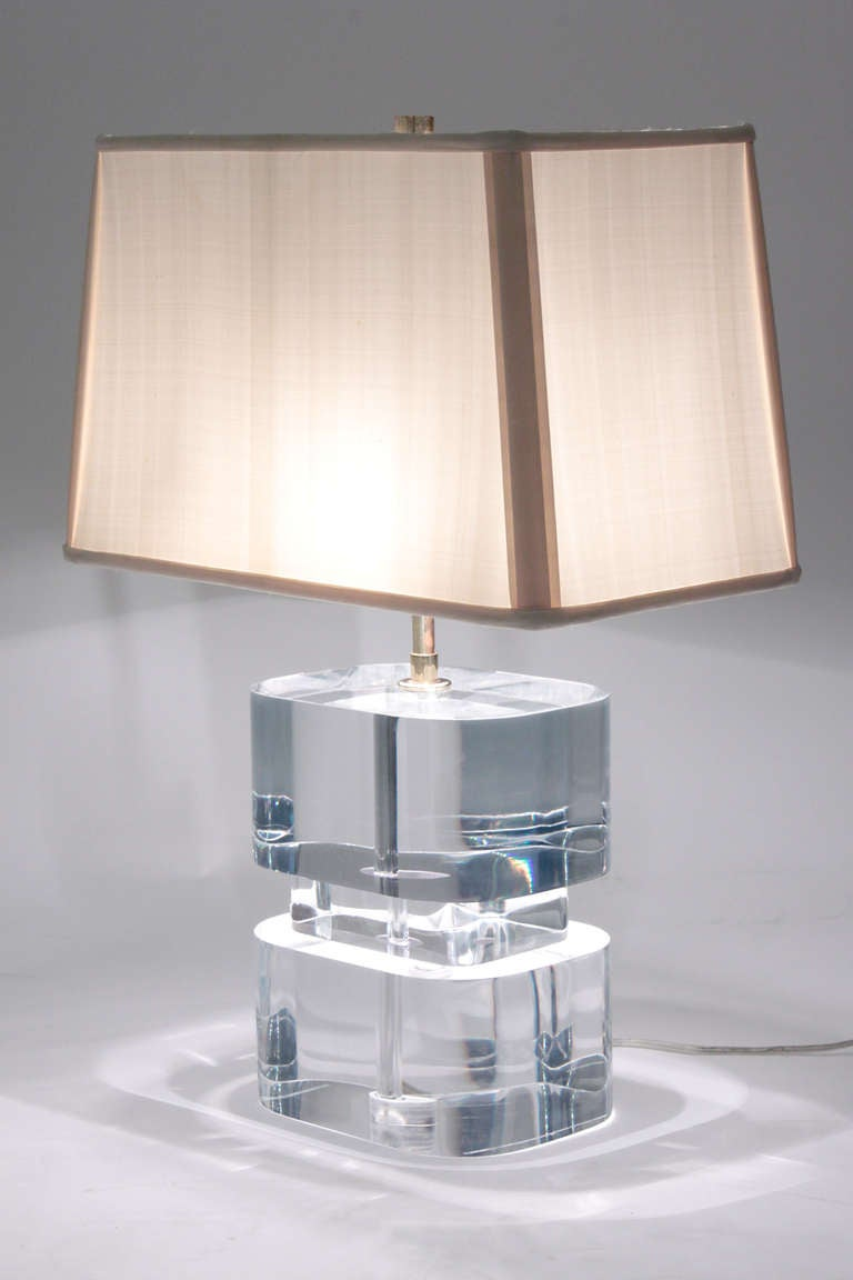 Pair Of Exceptional Thick Lucite Block Table Lamps By Karl