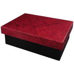 Box with Diamond Patterned Top in Goatskin by Karl Springer